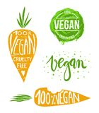 Vegan labels set. Collection of hand drawn vegan labels with handlettering for your product Royalty Free Stock Images