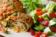 Vegan Lasagna Rolls Stock Photography