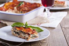 Vegan lasagna with tofu Royalty Free Stock Images