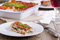 Vegan lasagna with tofu stock photo