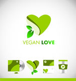 Vegan leaf green heart love logo icon design Stock Photo