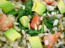 Vegan lentil and whole grain brown rice salad Stock Image