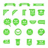 Vegan logos collection set, organic bio logos or signs. Raw, healthy food badges, tags set for cafe, restaurants. Products packaging etc. Vector vegan sticker stock illustration