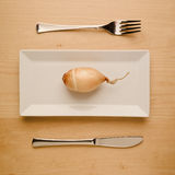 Vegan low-carb diet raw onion on rectangular plate. Concept of vegan and vegetarian low-carb diet. A single raw unpeeled and uncut onion on a square rectangle Stock Photos