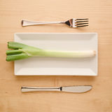 Vegan low-carb diet raw uncut spring onion on rectangular plate. Concept of vegan and vegetarian low-carb diet. A single raw and uncut scallion or spring onion Stock Photo