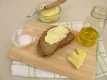 Vegan margarine on bread. Homemade vegan margarine on bread Stock Photos
