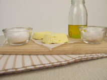 Vegan margarine with rapeseed oil, coconut oil and fleur de sel Stock Image
