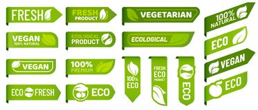 Vegan mark labels. Fresh vegetarian products, eco organic food and recommended healthy product sticker badges vector set royalty free illustration