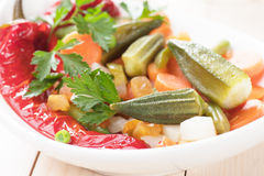 Vegan meal with okra, bell pepper and vegetable Royalty Free Stock Photos