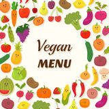 Vegan menu background. Vegetarian Card Design. Cute fruits and vegetables. Vector illustration Royalty Free Stock Photography