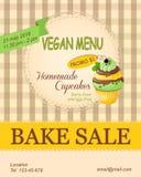 Vegan menu bake sale promotion flyer with mint cupcake Royalty Free Stock Photos