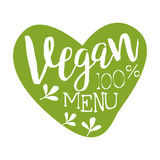 Vegan menu green label in the shape of a heart, vector illustration Royalty Free Stock Photos