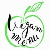 Vegan menu.Hand drawn lettering. Inspiring quote.Vector calligraphy. Hand drawn lettering poster.Typography card Royalty Free Stock Images