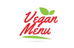 Vegan Menu hand written word text for typography design in red. Color with leaf Can be used for a logo or icon vector illustration