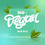 100 VEGAN MENU lettering with square frame. Handwritten lettering for restaurant, cafe menu. Elements for labels, logos. 100 VEGAN MENU lettering. Handwritten stock illustration