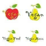 Vegan menu Vegan cafe food Vector logos or signs stock illustration