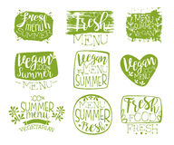 Vegan Menu Vintage Stamp Collection Royalty Free Stock Image