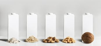Vegan milk concept. White blank packaging, tetra-pack, packet cartons with mock up to branding or design with best vegan milk. Ingredients: rice, oatmeal royalty free stock images