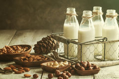 Vegan milk from nuts. In glass bottles with various nuts on old wooden background Stock Image
