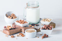 Vegan milk from nuts in glass jar Royalty Free Stock Photography
