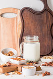 Vegan milk from nuts in glass jar Stock Photography