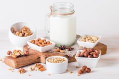 Vegan milk from nuts in glass jar Royalty Free Stock Image