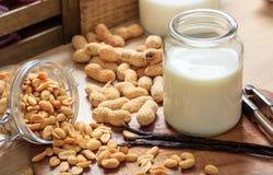 Vegan milk from peanuts Stock Images