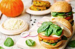 Vegan millet black bean pumpkin burgers Stock Photography