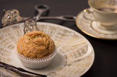 Vegan Muffin on antique Plate. Stock Photography