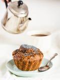 Vegan muffins with carob, honey, raisins and poppy seeds, desser Stock Photo