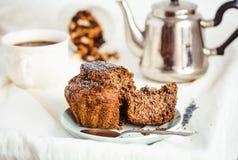 Vegan muffins with carob, honey, raisins and poppy seeds, desser Stock Photos