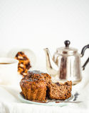 Vegan muffins with carob, honey, raisins and poppy seeds, desser Royalty Free Stock Images