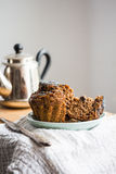 Vegan muffins with carob, honey, raisins and poppy seeds, desser Stock Image