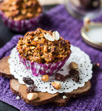 Vegan muffins with oat flakes with raisins and nuts Royalty Free Stock Image