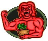Vegan musculaire fort Lion Bodybuilder Cartoon illustration de vecteur