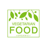 Vegan Natural Food Green Logo Design Template With Square Frame Promoting Healthy Lifestyle And Eco Products Royalty Free Stock Photo