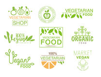 Vegan Natural Food Set Of Template Shop Logo Signs In Green And Orange Colors Promoting Healthy Lifestyle And Eco. Products. Trendy Bio Vegetables And Stock Photography