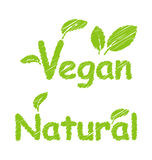 Vegan and Natural Green Texts Royalty Free Stock Photos