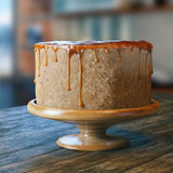 Vegan natural product cake with sugar syrup on top Royalty Free Stock Image