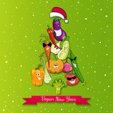 Vegan new year tree illustration Stock Photography