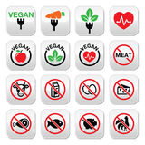 Vegan, no meat, vegetarian, lactose free buttons set. Vector signs set of healthy green food buttons isolated on white Royalty Free Stock Images