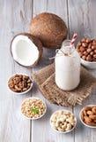 Vegan nut milk in the bottle Stock Images
