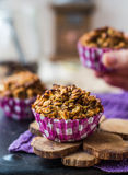 Vegan oat muffins with dried fruits and nuts Stock Photo