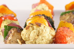 Vegan organic skewers. Healthy skewers made with organic vegetables and grilled preserving all the juicy flavor Royalty Free Stock Photos