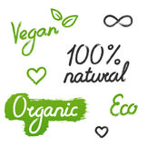 Vegan, organique, signes d'Eco Images stock
