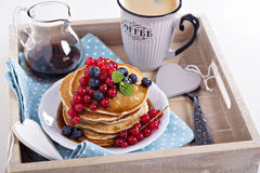 Vegan pancakes with mixed berries Royalty Free Stock Photos