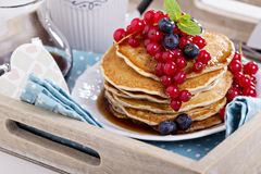 Vegan pancakes with mixed berries Stock Photo