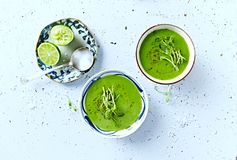 Vegan Pea Soup with pea sprouts from above Stock Photography
