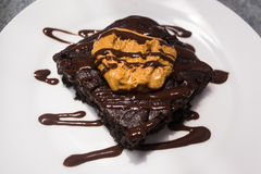 Vegan peanut butter fudge brownie Royalty Free Stock Photos