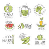 Vegan 100 Percent Natural Products Promo Labels Collection. Vegetarian Food Of Premium Quality Advertisement Sign Set. Light Color Flat Cute Illustration In Stock Photography